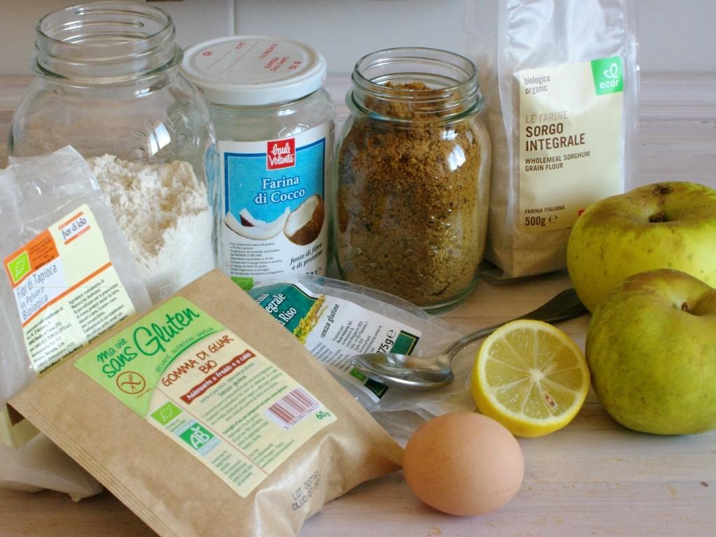 ingredientes para tarta de manzanas de cuajo sin gluten y sin lactosa