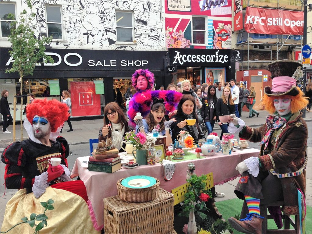 Or, the London tea with Alice in Wonderland and the Mad Hatter